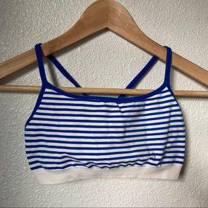 Gap Body Blue Striped Sports Bra Small